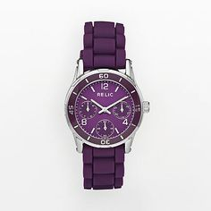 The best watch ever! Love the rubber band:) RELIC® Watches Trend Watches:Women Hannah Black Silicone Strap Multifunction Watch Sport Watches, Cool Watches, Relic Watches, Shops, Purple Lips, Trends, Black Rubber, Michael Kors Watch, Jewelry Watches