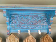 Shabby chic turquoise and red wall display by patscraftingagain, $52.99