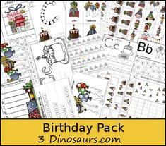 Free Birthday Pack from 3 Dinosaurs