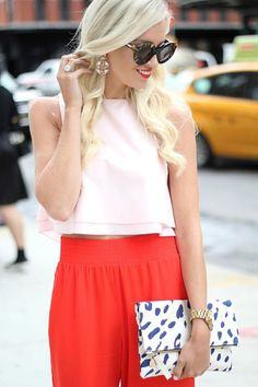 leopard clutch + high waisted pants
