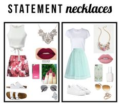 """""""Statement necklace"""" by sararezaisr ❤ liked on Polyvore featuring RE/DONE, Chicwish, Moncler Gamme Rouge, adidas, WithChic, TravelSmith, Lime Crime, Smashbox, Essie and Tom Ford"""