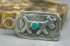 Vintage Fred Harvey Era Sterling Silver Turquoise Dog Tag Pendant Stamped