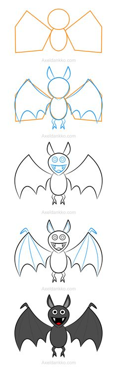 How to draw a bat - Comment dessiner une chauve-souris