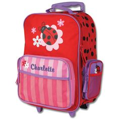 Stephen Joseph Rolling Luggage Personalized. Owl, Ladybug, Princess, Fox, Pirate, Shark, Airplane, Girl Horse, Flower, Dino, Sports