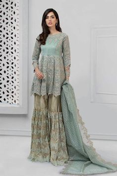 Pakistani embroidered party wear dresses with fancy gharara for wedding or party events. Pakistani embroidered party wear dresses with fast delivery in USA Desi Wedding Dresses, Pakistani Formal Dresses, Pakistani Party Wear, Pakistani Dress Design, Pakistani Outfits, Pakistani Clothing, Dress Wedding, Indian Dresses, Formal Dresses Online