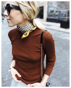Wear a scarf knotted loosely against your neck. www.stylestaples.com.au