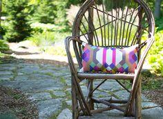 Geometric Lumbar Pillow | throw pillow | handmade | sistergolden.com | one of a kind