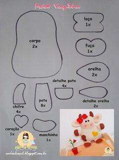 °°Molde Vaquinha Fofa... - Sonhos de Mel 'ੴ - Crafts em feltro e tecido  Not in english but I think I can work it out.