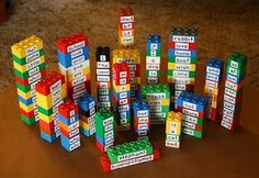 Letter and letter combinations on building blocks, great for pre writers