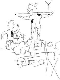 Enhancement of Graffito of Alexamenos.