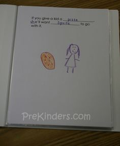"""This book is based on the Laura Numeroff books. Each page says: """"If you give ___ a ___ s/he'll want ______ to go with it!"""" For example, """"If you give Sarah pizza, she'll want Coke to go with it!"""" Children glue a picture of themselves on the page, along with magazine cut outs of the food items they chose.  Read more: http://prekinders.com/class-books/#ixzz1RHOHS5kr"""