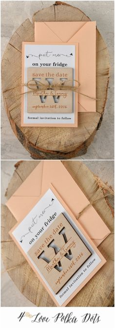 Save the Date card with wooden magnet #wedding #weddingideas #magnet #savethedate #peach #peachwedding