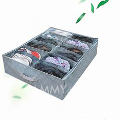 $3.70 Environment-friendly Cloth Bamboo Charcoal Storage Case for 12pcs Shoes (Gray)