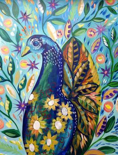The Floral Peacock By Cinnamon Cooney The Art Sherpa as a Fully guided art lesson for Hart Party on youtube. Free online home painting party https://www.youtube.com/user/HoneyBmama #artlesson #theartsherpa #hartparty #easyart #paintingparty #art #diy