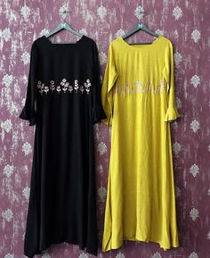 Cotton Kurtis with fine embroidery embellishment. Modest Dresses, Casual Dresses, Work Dresses, Casual Wear, Casual Outfits, Abaya Fashion, Fashion Dresses, Couture Fashion, Women's Fashion