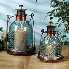 Mosaic Glass Lantern Set Blue Set of Two