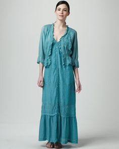 For a tropical beach wedding....Smock-Waist Embroidered Cardigan & Eyelet-Stripe Maxi Dress, Women\'s by Johnny Was Collection at Neiman Marcus.