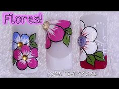 3 diseños de flores para tus uñas - YouTube Nail Art Designs, Nail Technician, Manicure And Pedicure, Spring Nails, Toe Nails, Art Reference, Hair And Nails, Lily, Make It Yourself