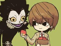 Death Note デスノート, Death Note Fanart, Death Note Light, Fanarts Anime, Anime Chibi, Manga Anime, Anime Art, L Lawliet, Cartoons