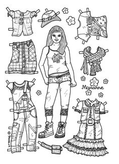 paper dolls to colour - Google Search                                                                                                                                                                                 More