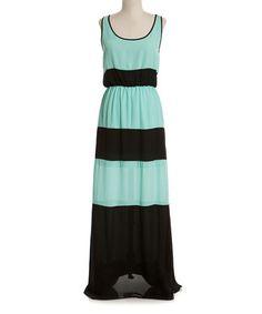 Black & Mint Color Block Maxi Dress - Women
