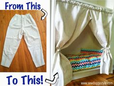 DIY Curtains From a Pair of Pants - Pantains! LOL!!! So easy to make. Perfect for all those furniture pieces with hidden dogs beds out there.