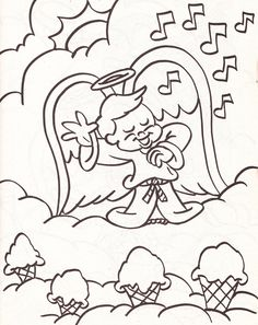 from an Angels coloring book - boy angel singing with ice cream cones in the clouds