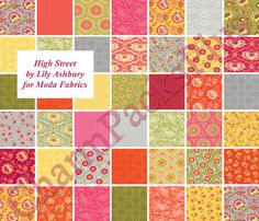 HIGH STREET - Moda Fabric Charm Pack - Five Inch Quilt Squares Quilting Material Blocks