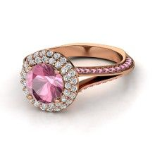 Round Pink Tourmaline 14K Rose Gold Ring with Diamond & Pink Tourmaline
