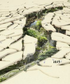 Thomas Heatherwick has designed an incredible semi-subterranean public park for Abu Dhabi that would use a fragmented canopy to keep visitors naturally cool. Abu Dhabi, Thomas Heatherwick, Desert Environment, Future Buildings, Desert Oasis, Dry Desert, Eco Architecture, Urban Park, Future City