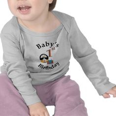Celebrate Baby's First Birthday with this cute Penguin Baby T Shirt. By ValeriesGallery.