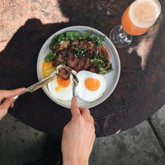 #FarmshopMarin A Farmshop favorite: Steak and Eggs with grilled flat iron steak, smashed potatoes, salsa criolla and sunny-side up eggs. #Farmshop