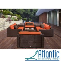 Replace your outdated patio furniture with the contemporary seating set. It features two armchairs, two sofas and a coffee table, which is the perfect size for entertaining small groups. It comes with weather-resistant cushions for outdoor use.