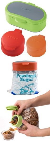 preserves foods and makes using them easier! i always spill flour all over the kitchen. -helpful, cool kitchen gadget