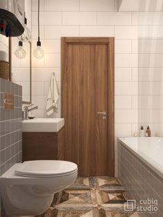 Fürdőszoba - szürke és fehér burkolatok, természetes hatású padlólap, fürdőkád