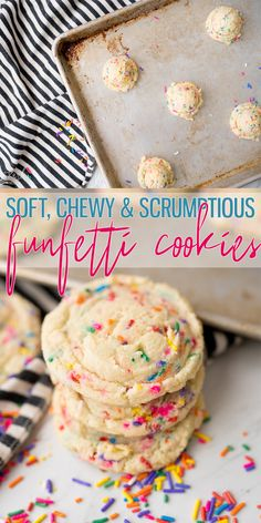 Funfetti Cookies have that classic cake batter Funfetti flavor that everyone loves! This recipe use the cake mix in place of some of the flour which makes the Funfetti flavor spot on! These are so simple easy and perfect for every occasion! Sprinkle Cookies, Funfetti Cake Mix Cookies, Cake Mix Cookie Recipes, Yellow Cake Mix Cookies, Funfetti Cookie Recipe, Birthday Cake Cookies, Cake Box Cookies, Vanilla Cookies, Vanilla Sugar