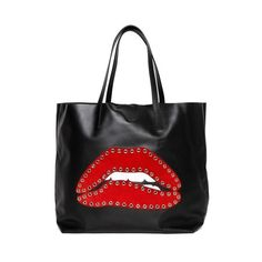 REDValentino Lips embellishment leather bag (611 AUD) ❤ liked on Polyvore featuring bags, handbags, black, genuine leather handbags, lips pursed, embellished purses, lips bag and decorating bags