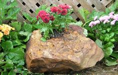 Drilled Stone Planter Stone Age Creations Stone Planters Planter Pots Stone Age
