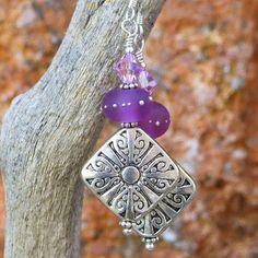 Pewter Cross Earrings Swirls Handmade Purple Lampwork Crystal Jewelry | ShadowDogDesigns - Jewelry on ArtFire