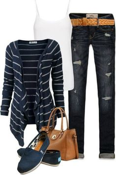 Striped sleeve shirt, jeans, bag and flatted shoes design fashion | Fashion and styles