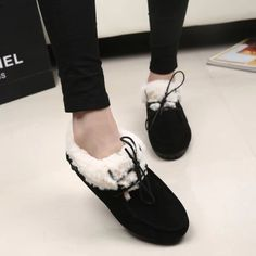 2014 autumn winter maomao doug shoes low female han edition for shallow  mouth frosted add flocking cotton shoes leisure warm shoes with flat sole  on ... 18d5286e866f