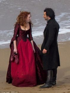 Frosty exchange: Ross and Demelza were later captured at Holwell Bay on Thursday during a tense scene