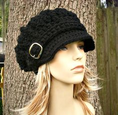15% Off - Hand Crocheted Hat Womens Hat - Monarch Ribbed Crochet Newsboy Hat in Black - Fall Fashion on Etsy, $51.00