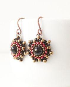 Handmade onyx and seed beads earrings in black, bronze and deep metallic magenta red