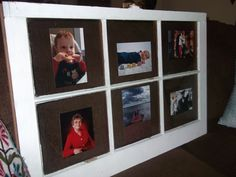 Old window DIY picture display. Vintage Windows, Old Windows, Door Crafts, Decorating With Pictures, Repurposed, Upcycle, Cycling, Projects To Try, Craft Ideas