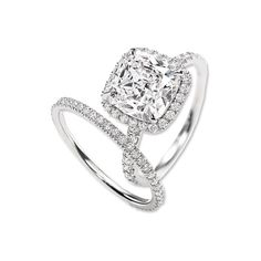 Harry Winston Cushion-Cut Diamond Engagement Ring and Band -- this is literally my perfect engagement ring/wedding band set.. i love the thin band omg