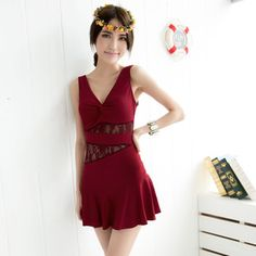 Free Shipping The Female Piece Dress Small Chest Gather Xl Swimsuit Lace Yy130517028