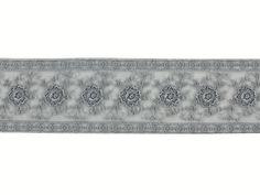 Tüllspitze Bordüre bestickt, grau, 4109B-031,  bei stoffe-hemmers.de, Sehr schöne bestickte Spitze mit schönem Glanz, besonders geeignet