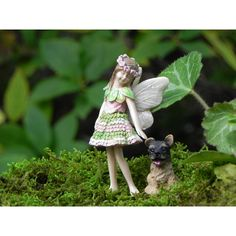 Fairy Garden Fairy Figurine With Puppy Dog Fairy Accessories... ($13) ❤ liked on Polyvore featuring home, outdoors, outdoor decor, dark olive, home & living, garden stake, dog garden decor, garden patio decor, garden decor and dog stake