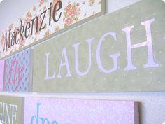 Wall words -  fabric, wood and Cricut